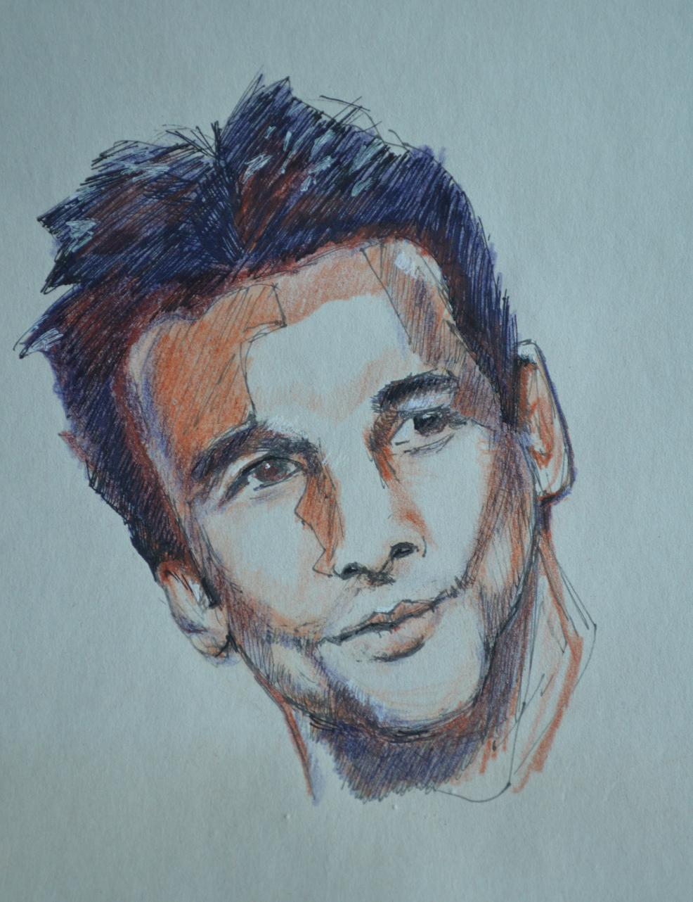Portrait Dave Gahan sanguine graphite et stylo bille
