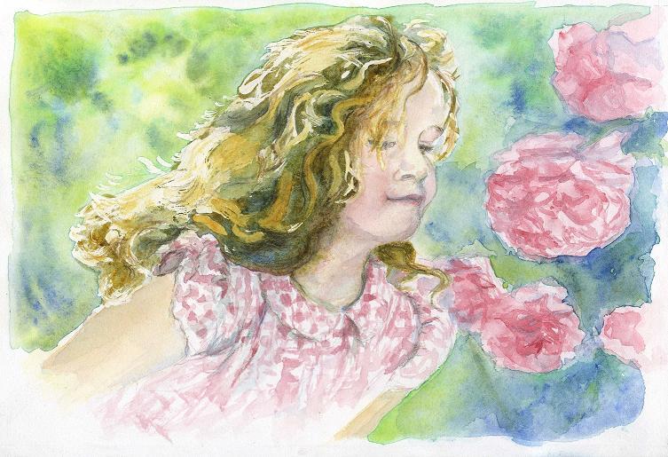 portraiit Morgane aux roses