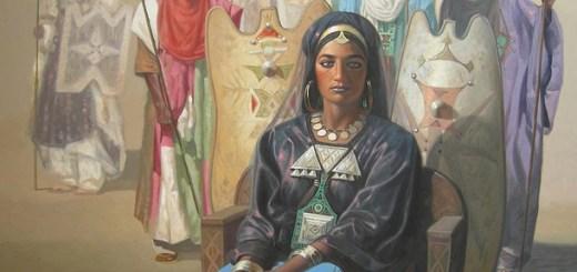 La reine Tin Hinan huile sur toile