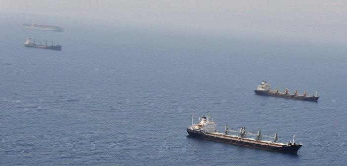 Shipping vessels seen off the Djibouti coast line in the Gulf of Aden