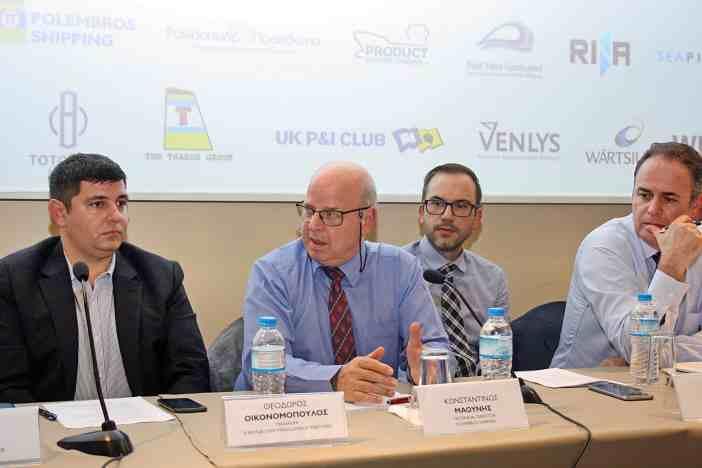 Στιγμιότυπο από την τοποθέτηση του κ. Κωνσταντίνου Μαούνη, Technical Director της Polembros Shipping