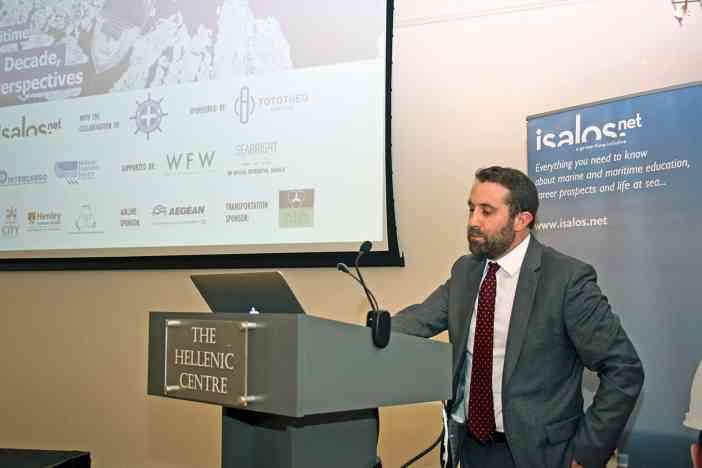 Στιγμιότυπο από το χαιρετισμό του κ. Jos Standerwick, Chief Executive του Maritime London