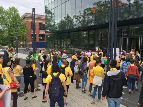 Crowd gathers outside of the Halifax Central Library