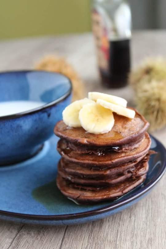 pancakes di banane e farina di castagne-senza burro glutine zucchero