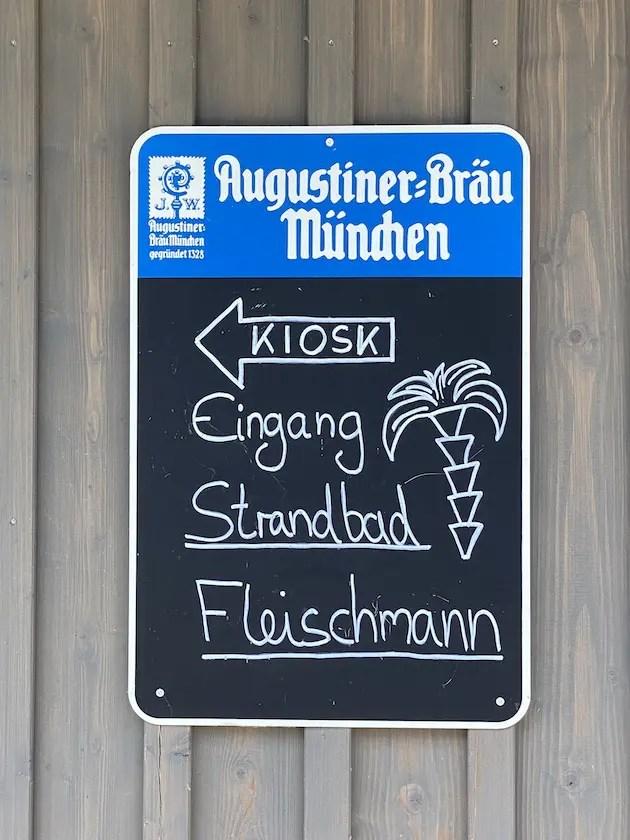 Eingang Kioks Schild Strandbad Fleischmann