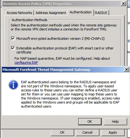 Figure 1: Enable EAP as a Authentication method in Forefront TMG