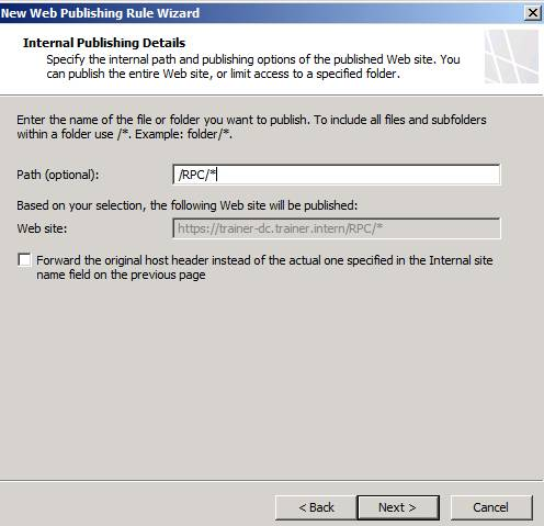 Figure 4: Select the /RPC path to publish