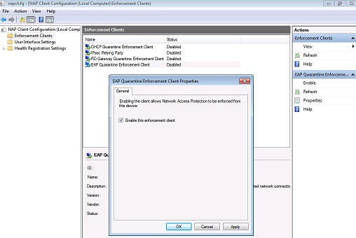 Figure 19: Enable NAP enforcement on the Windows 7 client