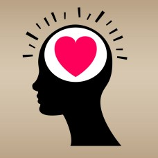 illustration of heart in silhouette of head
