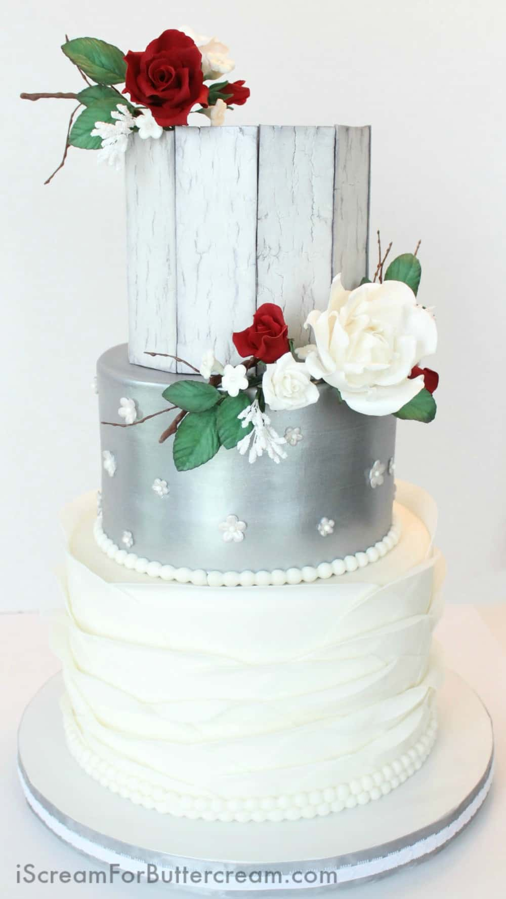 Elegant Rustic Silver Wedding Cake   I Scream for Buttercream Elegant Rustic Silver Wedding Cake
