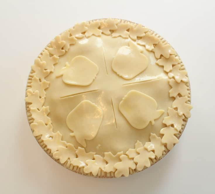 Adding the cut outs to the apple pie