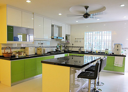 L Shaped Kitchen Design With Island Kitchen Cabinet Malaysia
