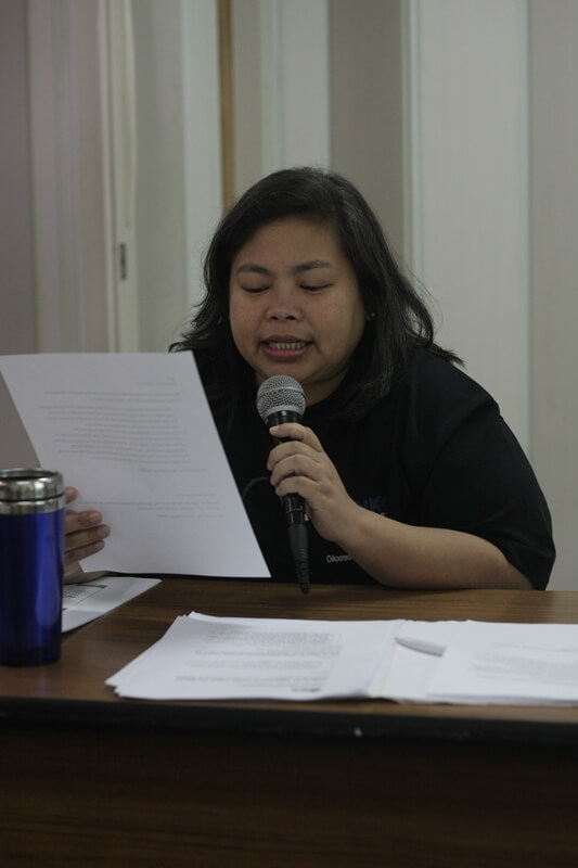 Oikocredit Southeast Asia Regional Director and ISEA Member Theresa Pilapil sponsors a resolution during the ISEA GA.