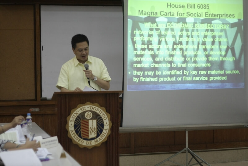 """Deputy Speaker Lorenzo """"Erin"""" Tañada III delivers  his keynote address  on Accelerating Poverty Reduction Through Social Entrepreneurship, which he considers as the essence of House Bill 6085."""