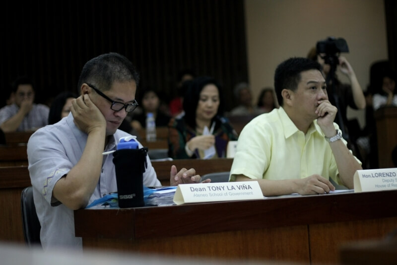 Deputy Speaker Tanada, ASoG Dean Tony La Vina, ISEA President Marie Lisa Dacanay, Tanada's Chief of Staff Jessica Cantos, and FSSI Executive Director Jay Lacsamana listen intently to the presentations of the executive branch of government.