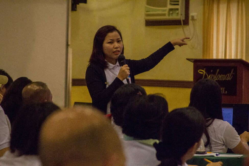 """Ms. Precious Namoc, National Coordinator of Philippine Coffee Alliance, presents """"Integrated Coffee Agribusiness"""" as their RISE Evolving Initiative focusing on coffee value chain development. The initiative hopes to engage women's groups and cooperatives in communities devastated by Yolanda as coffee processors while rehabilitating their coconut and coffee farms."""