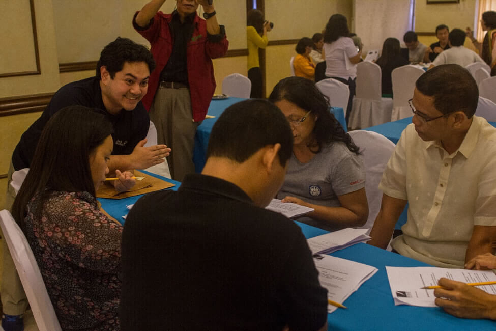 Participants actively make proposals during the Critiquing and Enhancement Workshops tackling the SERVE Conference Declaration and Reconstruction Initiative through Social Enterprise (RISE) Platform.