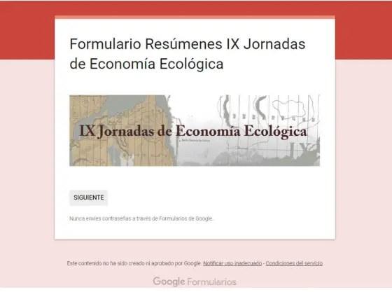 Formulario Resumenes IX Jornadas de Economia Ecologica