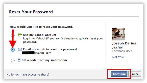 start to reset your facebook password