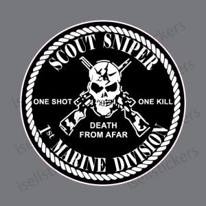MA-3133 Scout Sniper 1st Marine Division Decal Sticker