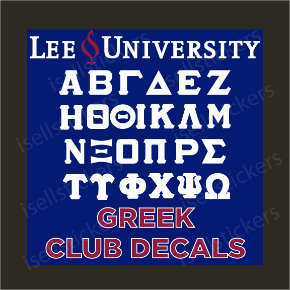 Lee University Greek Club Decals Stickers