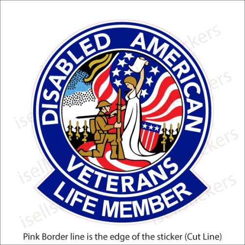 DAV Disabled American Veterans Life Member Military Bumper Sticker Window Decal