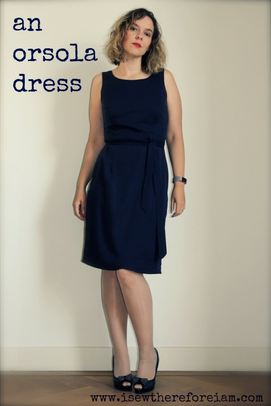 The Orsola wrap dress from By Hand London sewn in a navy tencel