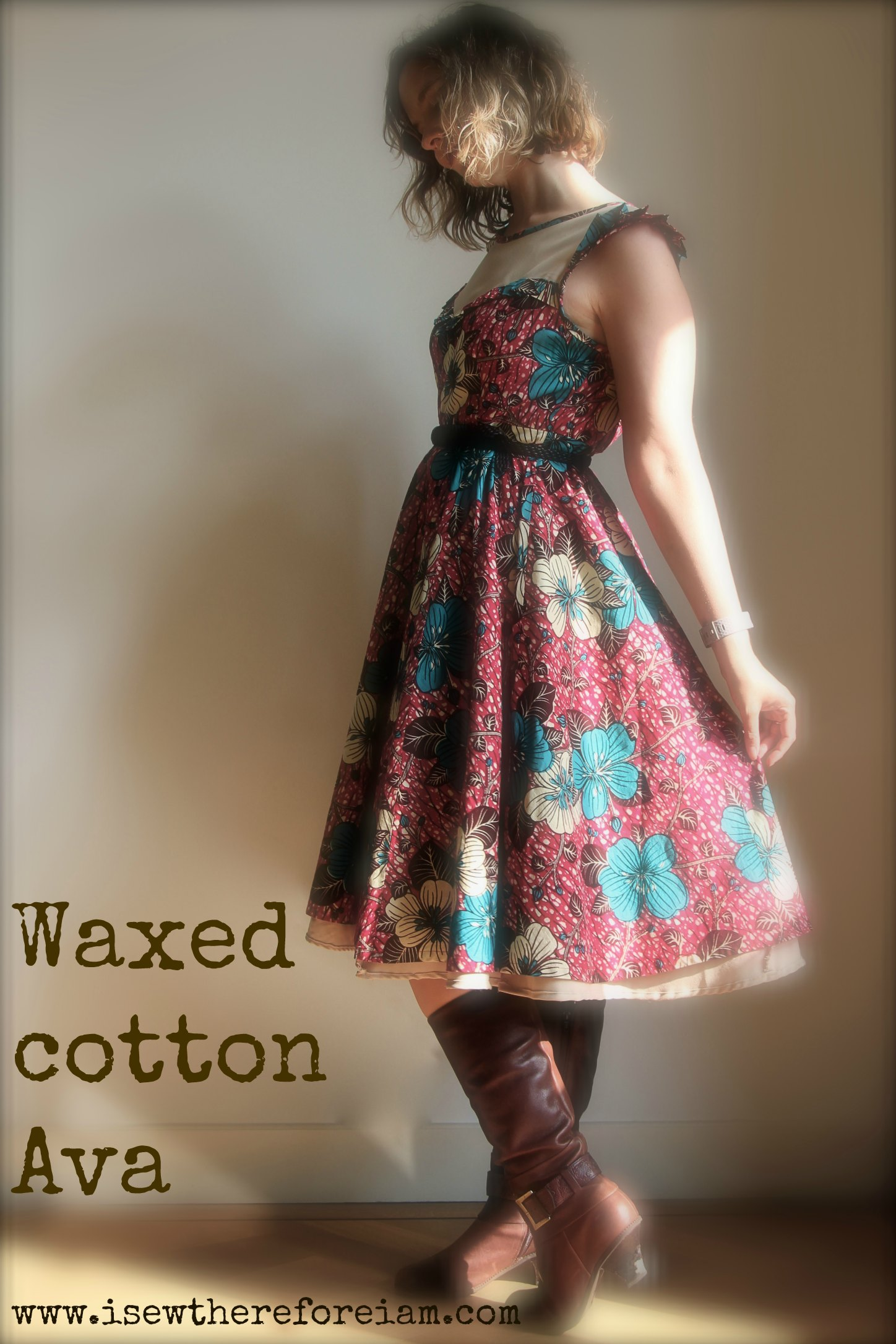 The lovely Ava dress from Victory Patterns in pink and turquoise waxed cotton