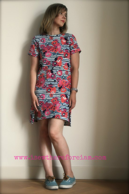 Named Patterns Inari Tee Dress in Paparounes Crimson fabric from Art Gallery Fabrics
