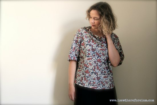 A bias-cut, cowl neck, Kimono sleeve top in a lovely fabric from Atelier Brunette