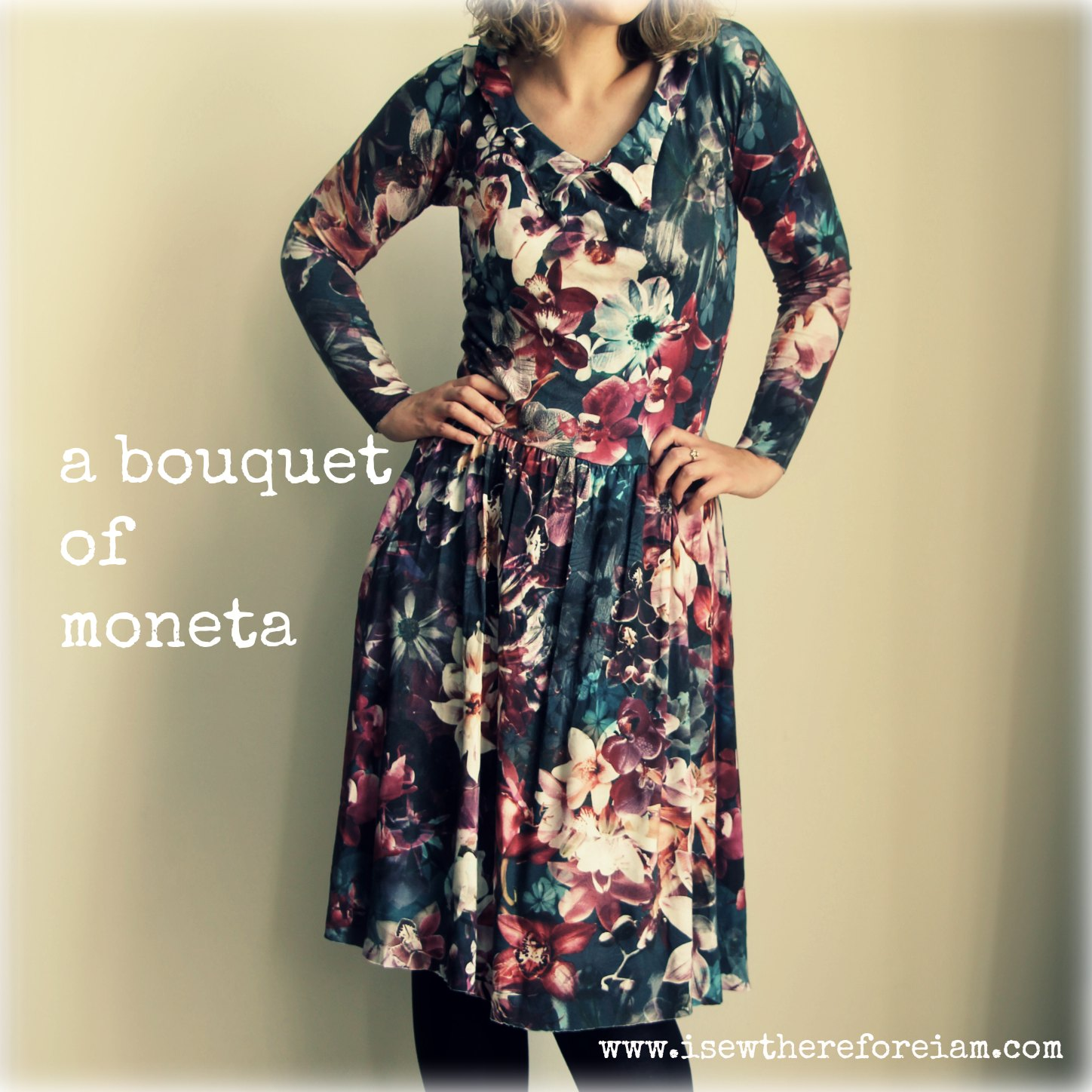 Colette Moneta knit dress in a floral orchid print