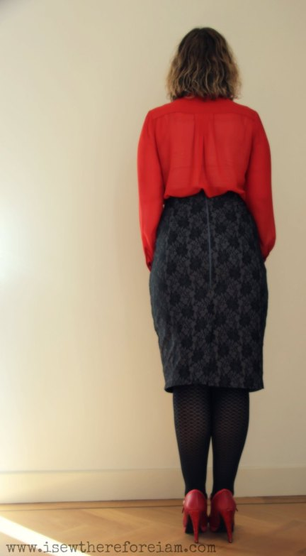 A black pencil skirt using the Ultimate Pencil Skirt pattern from Sew Over It