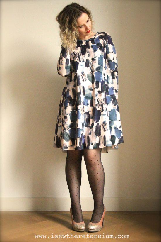 Ebony Knit Dress by Closet Case Patterns in Brushstroles Indigo Scuba from The Fabric Godmother