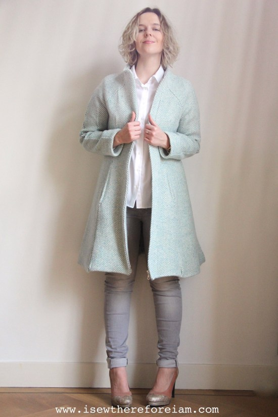 Hemisferic Coat by Pauline Alice in herringbone avoca wool from Fabworks Mill Shop and lined with Nani Iro quilted cotton from Miss Matatabi