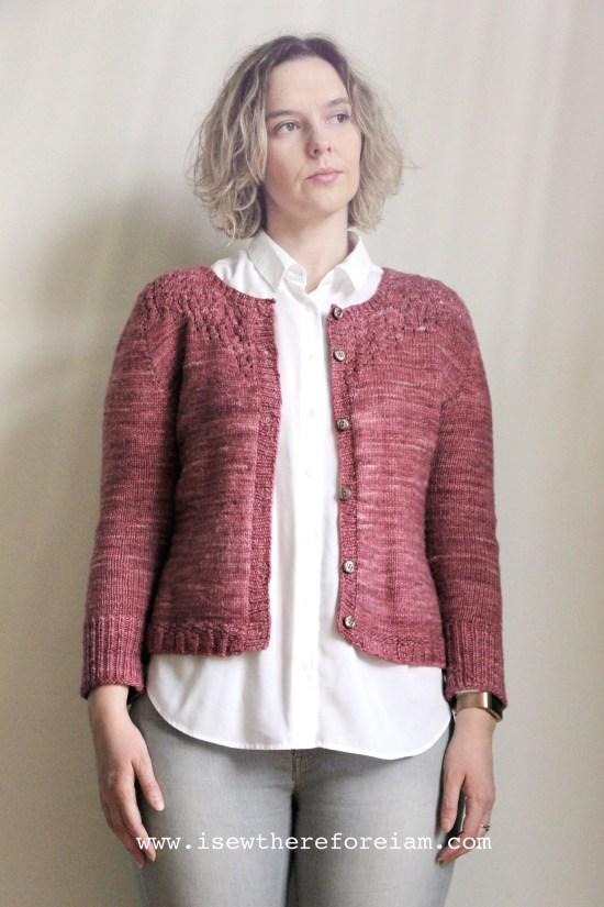 Salal Cardigan by Andi Satterlund in Malabrigo worsted yarn open