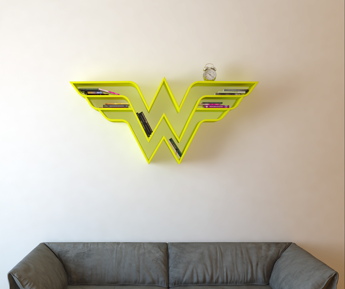 Wounder Women Bookshlef design Idea 3