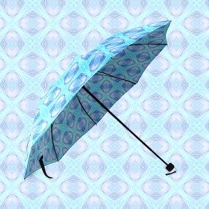 Abstract Circles Arches Lattice Aqua Blue | Foldable Umbrella