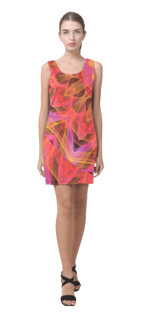 Abstract Peach Violet Mandala Ribbon Candy Lace Short Sleeveless Dress