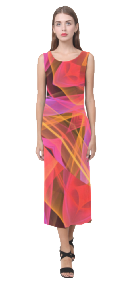 Abstract Peach Violet Mandala Ribbon Candy Lace Sleeveless Open Fork Long Dress