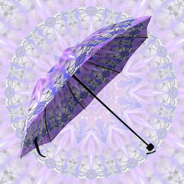 Abstract Plum Ice Crystal Palace Lattice Lace | Foldable Umbrella
