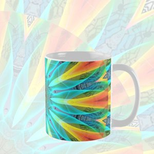 Aqua Gold Joy to the World Abstract Flowers Mandala | Mug