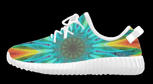 Aqua Gold Joy to the World Flowers, Zen Rainbow | Grus Women's Breatheable Woven Running Shoes (Model 022) (white)