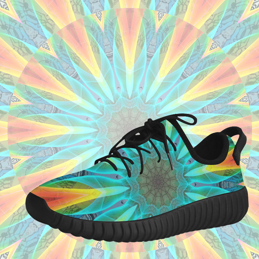 Aqua Gold Joy to the World Flowers, Zen Rainbow | Grus Running Shoes