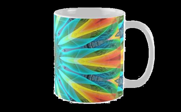 Aqua Gold Joy to the World Abstract Flowers Mandala | Mug