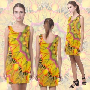 Beach Grass Golden Red Foliage Abstract Fall Days Short Sleeveless Dress
