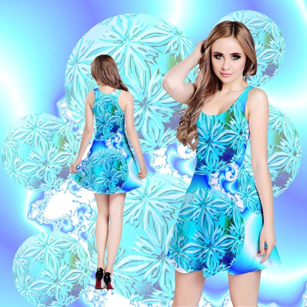 Blue Ice Crystals, Abstract Aqua Azure Cyan Reversible Sleeveless Dress