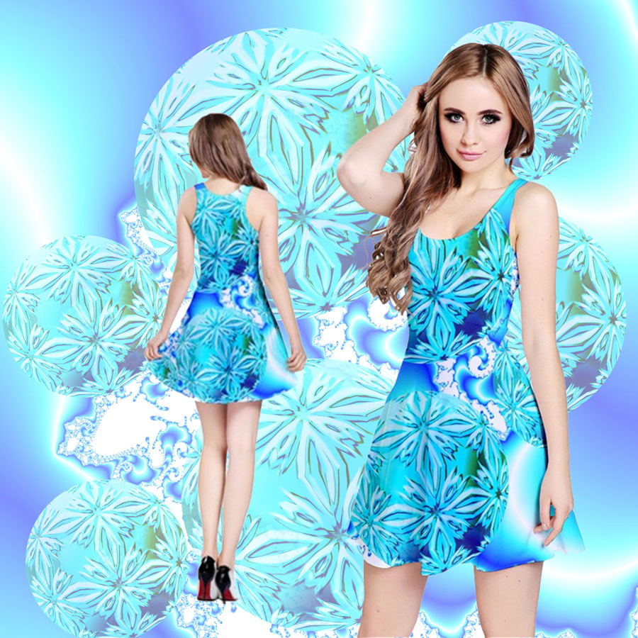 Blue Ice Crystals, Abstract Aqua Azure Cyan | Reversible Sleeveless Dress