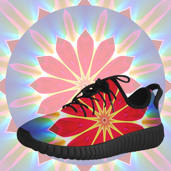 Blue Ice Flowers Red Abstract Modern Petals Zen | Grus Women's Breatheable Woven Running Shoes (Model 022)