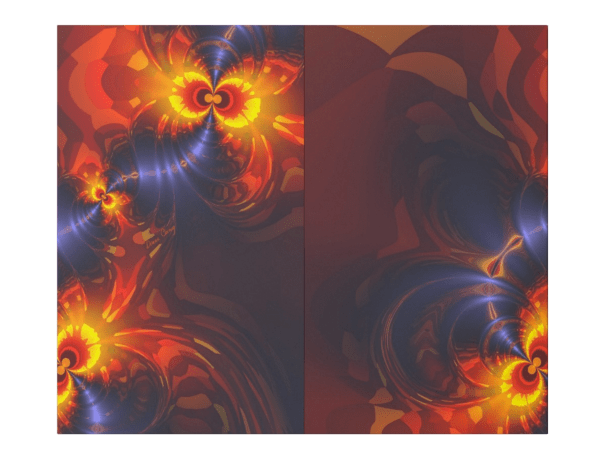 Butterfly Eyes, Abstract Gold Violet Wings Fractal | Wrapping Paper | Seam