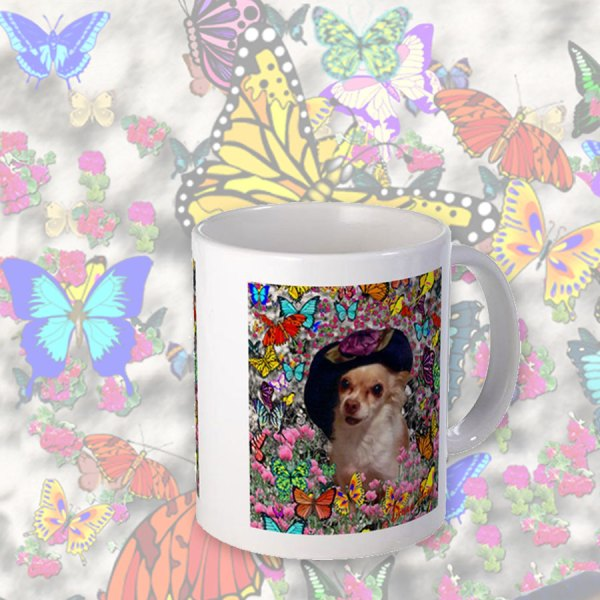 Chi Chi Chihuahua Dog in Yellow, Red, Blue, Rainbow Butterflies | Mug